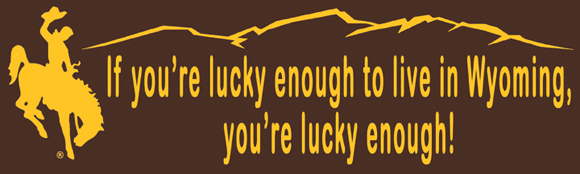 "Bumper sticker - ""If you're lucky enough to live in Wyoming, you're lucky enough!"""